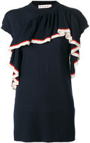 Marni asymmetric ruffled T-shirt - women - Virgin Wool - 38