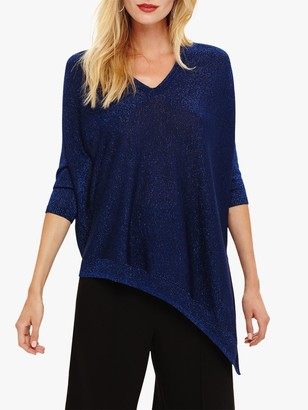Phase Eight Ally V-Neck Asymmetric Jumper, Cobalt