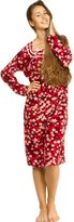 Patricia from Paris Women's Soft Fleece Long Sleeve Nightgown Pajama Sleepwear (Red Floral, M)
