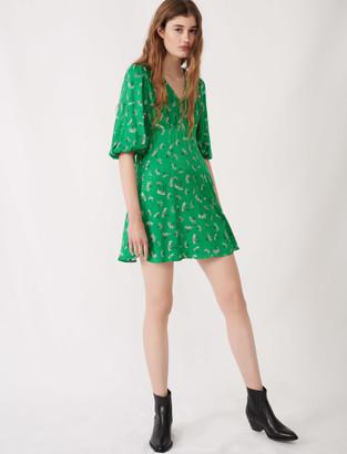 Maje Printed satin jacquard dress