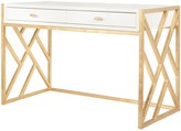 The Well Appointed House Worlds Away Cordelia White Lacquer Desk with Gold Leaf Lattice Base