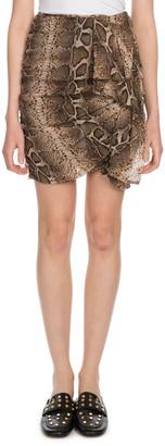 Etoile Isabel Marant Jerine Shirred Snake-Print Mini Skirt
