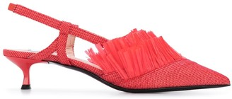 MSGM Fringed Raffia 45mm Slingback Pumps