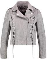 New Look BIKER Faux leather jacket dark grey
