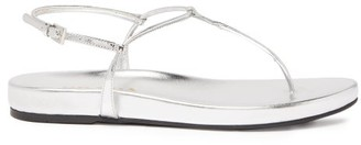 Prada Ankle Strap Leather Sandals - Womens - Silver