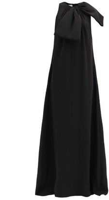 Valentino Bow Silk-cady Gown - Black