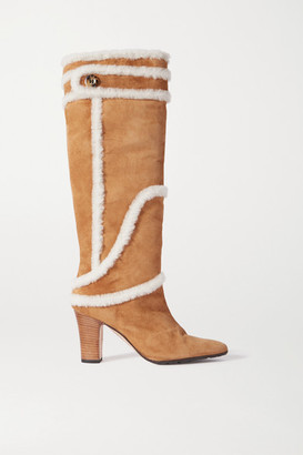 Manolo Blahnik Cluntius Shearling-trimmed Suede Knee Boots - Tan