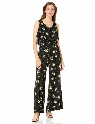 GABBY SKYE Womens Sleeveless V-Neck Printed Belted Jumpsuit