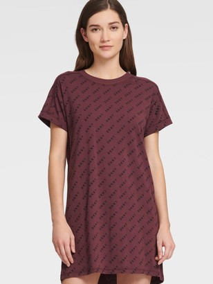 DKNY Women's Logo Print Tee Dress - Plum - Size M