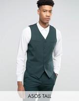 Asos Tall Slim Suit Waistcoat In Green