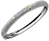 Lord & Taylor Diamond Accented Bangle in Sterling Silver with 14K Yellow Gold