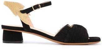 Chie Mihara Leaf Embellished Block Heel Sandals