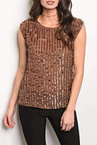Black Sequin Brown Blouse