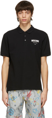 Moschino Black Logo Print Polo