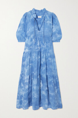 HONORINE Giselle Tiered Tie-dyed Cotton Dress - Blue