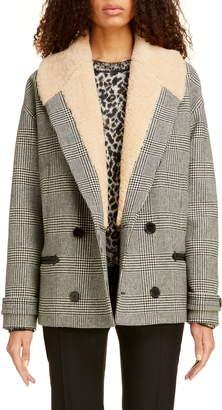 Saint Laurent Genuine Shearling Collar Glen Plaid Coat