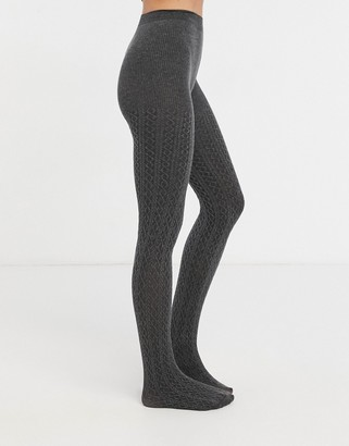 Lindex eco cable knit tights in grey
