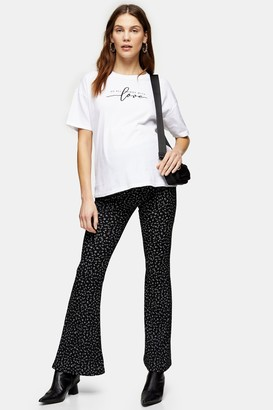 Topshop Womens Tall Black And White Ditsy Print Flare Trousers - Monochrome