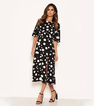 New Look AX Paris Spot Split Hem Midi Dress