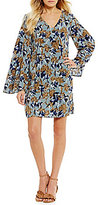 Sugar Lips Sugarlips Bell Sleeve Printed Burnout Shift Dress