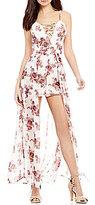 Midnight Doll Lattice X-Front Floral-Print Maxi Romper