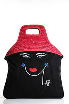 Lulu Guinness Black Canvas Embroidered Straw Contrast Tote Handbag