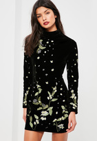 Missguided Black Velvet Embroidered Bodycon Dress