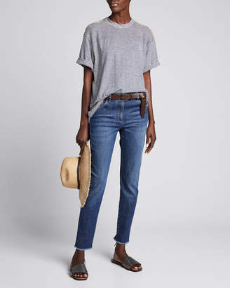 Brunello Cucinelli Dark-Wash Skinny Ankle Jeans