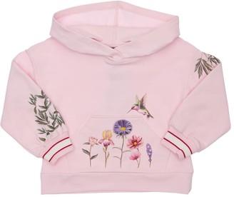 MonnaLisa Flowers Print Cotton Sweatshirt Hoodie