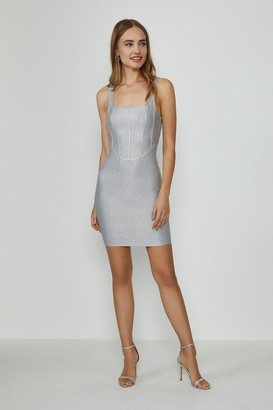 Coast Glitter Structured Bandage Mini Dress