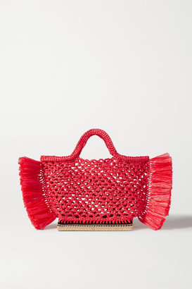 Altuzarra Espadrille Small Fringed Raffia Tote - Red