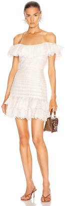 Zimmermann Super Eight Off Shoulder Mini Dress in Ivory | FWRD