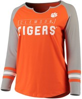Unbranded Women's Orange/Gray Clemson Tigers Plus Size Three Stripe Split Neck Long Sleeve Raglan T-Shirt