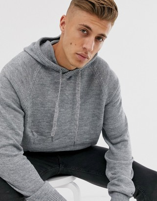 Cotton On knitted hoodie in gray marl