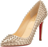 Christian Louboutin Pigalle Spikes Red Sole Pump, Beige/Gold