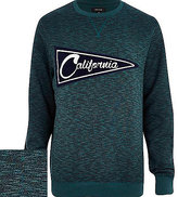 River Island MensDark green California sweatshirt