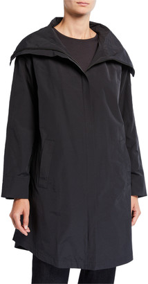 Eileen Fisher High-Collar Zip-Front Organic Cotton/Nylon Coat