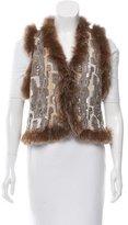 Alice + Olivia Fur-Trimmed Embellished Vest