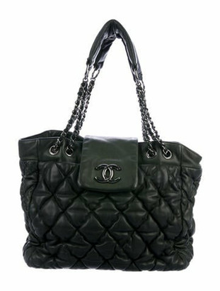 Chanel Large Bubble Quilt Tote green