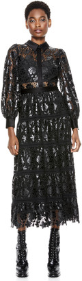 Alice + Olivia Anaya Lace Midi Dress