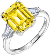 Lafonn Platinum Plated Sterling Silver Simulated Diamond White & Canary Emerald Cut Baguette Ring