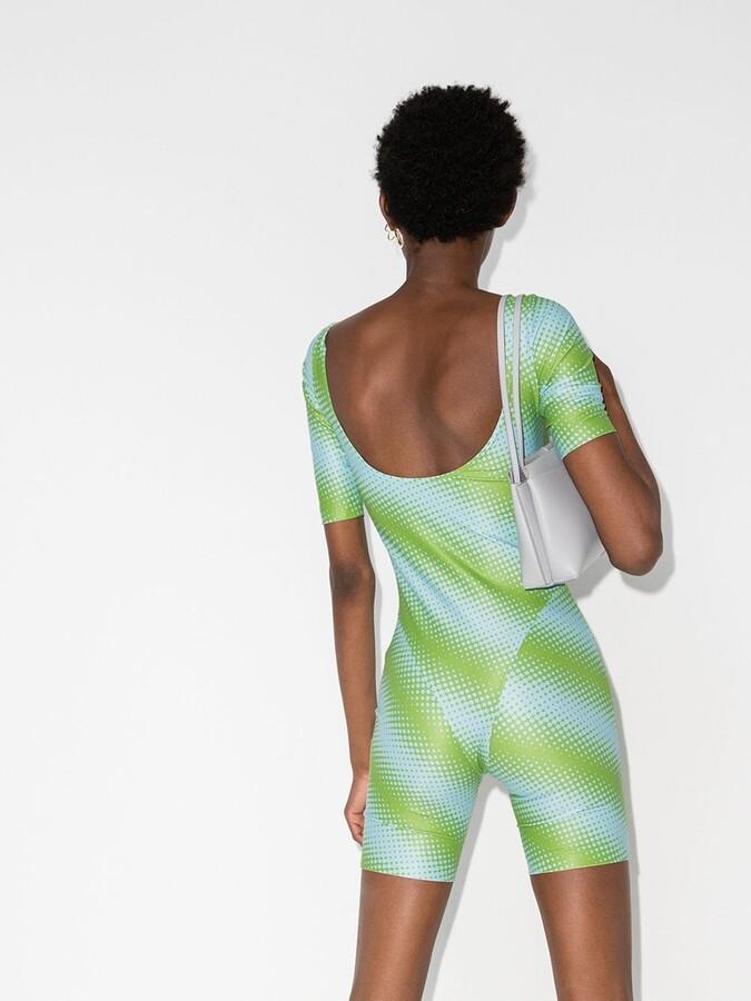Thumbnail for your product : MAISIE WILEN Green Diagonal Print Bodysuit