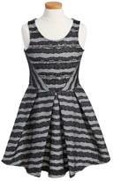 Hannah Banana Stripe Fit & Flare Dress (Big Girls)