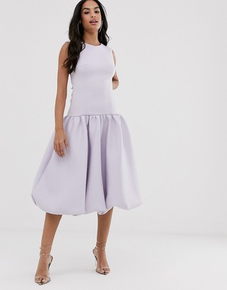 Asos Design DESIGN bubble hem drop waist midi dress-Purple