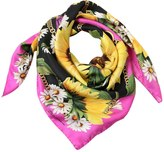 Dolce & Gabbana Sunflower & Chains Printed Silk Scarf