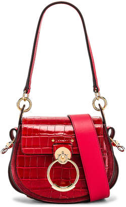Chloé Small Tess Embossed Croco Shoulder Bag in Dusky Red | FWRD