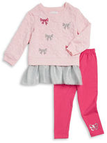 Flapdoodles Girls 2-6x Long-Sleeve Sequined Bow Tulle Tunic and Leggings Set