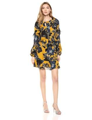 Parker Women's Gigi Long Sleeve tie Neck Smock Waist Short Dress