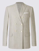 M&s Collection Linen Rich Double Breasted Jacket