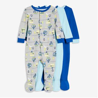Joe Fresh Baby Boys' 3 Pack Footed Sleepers, Light Grey (Size 3-6)